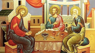 Christ and the two disciples on the road to Emmaus