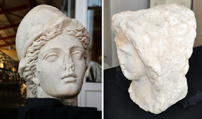 Two statue heads unearthed in Laodicea