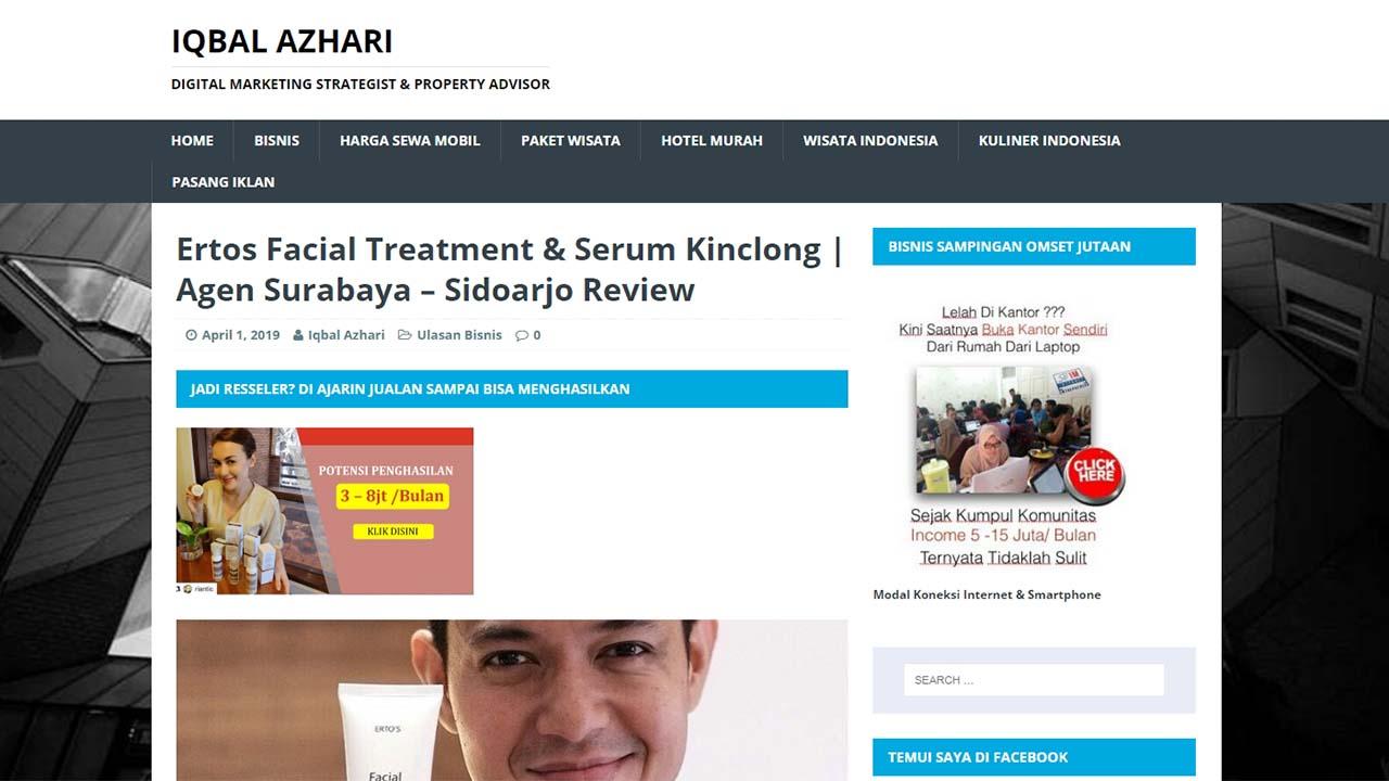 Agen Ertos Facial Treatment Serum Kinclong di Surabaya & Sidoarjo