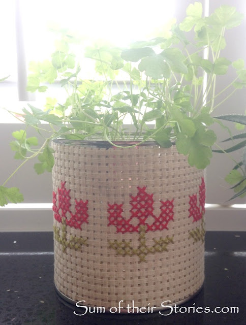 recycled tin cross stitch planter