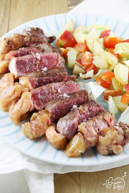 Recette Faux Filet Angus Plancha Salade de Pomme de Terre de Noirmoutier Tomates Nectarine Salade