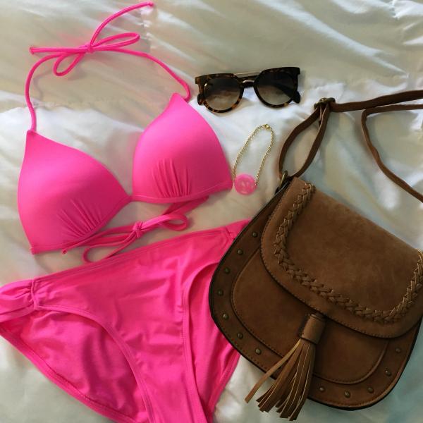 pink bikini, monogram bracelet