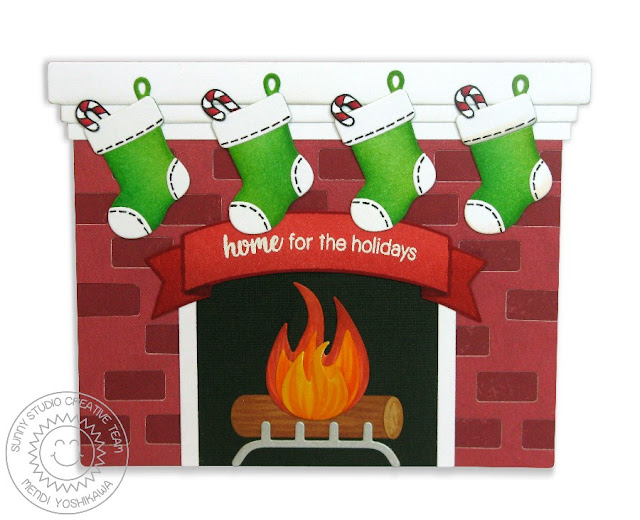 Sunny Studio Stamps: Shaped Fireplace Card (using Playful Polar Bears, Christmas Home & Sunny Borders Stamps)