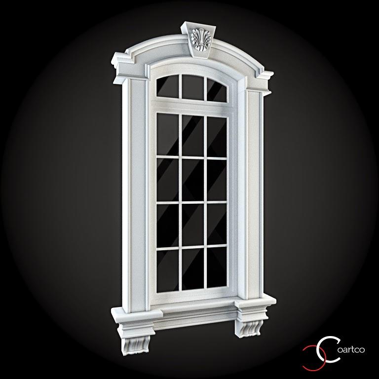 Ornamente Geamuri Exterior, fatade case cu profile decorative polistiren, profile fatada,  Model Cod: WIN-039