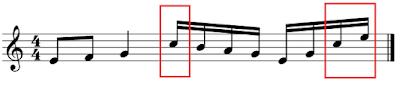 Figuras unidas a diferente altura en el pentagrama respecto a la línea central, con las plicas hacia arriba