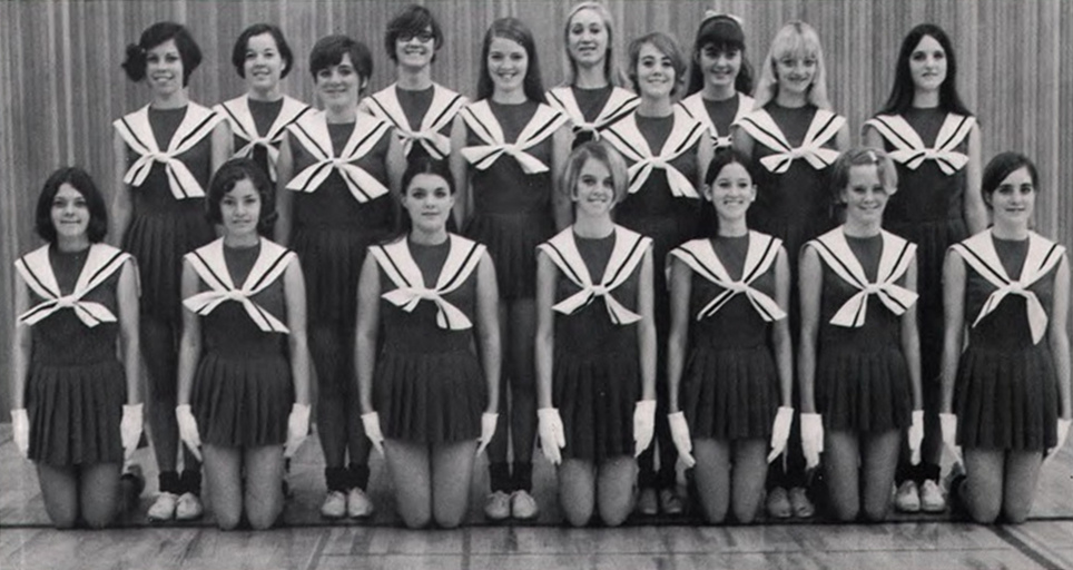 BW Photographs of Cheerleaders in 1960s  70s  vintage everyday