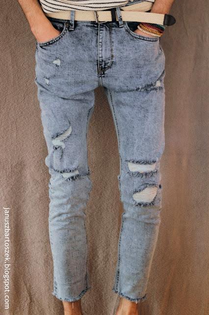 jeansy z dziurami bershka