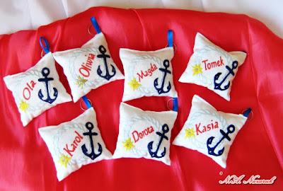 Spersonalizowane poduszeczki-breloczki marynistyczne/Personalized pillow-key chains with maritime motif