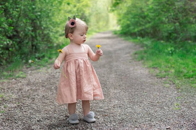 Linen sundress rose pink for girls classic slow fashion by Daydream Believers Designs
