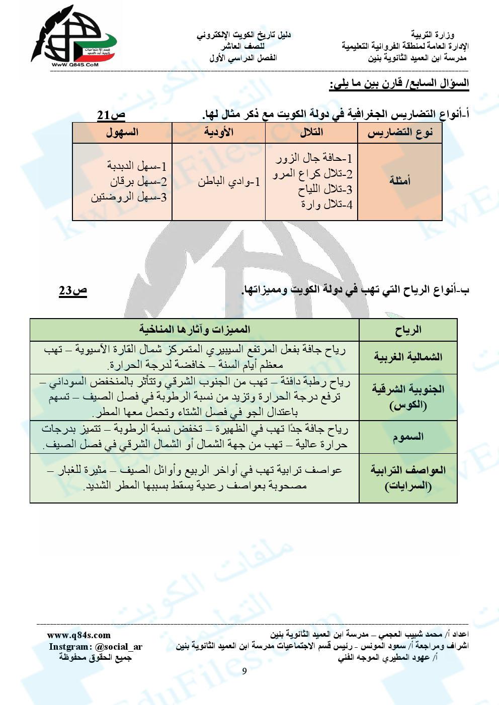 كتاب تاريخ الكويت الصف العاشر