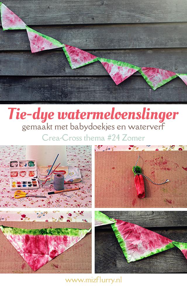 Tie-dye watermeloenslinger - gemaakt met babydoekjes en waterverf