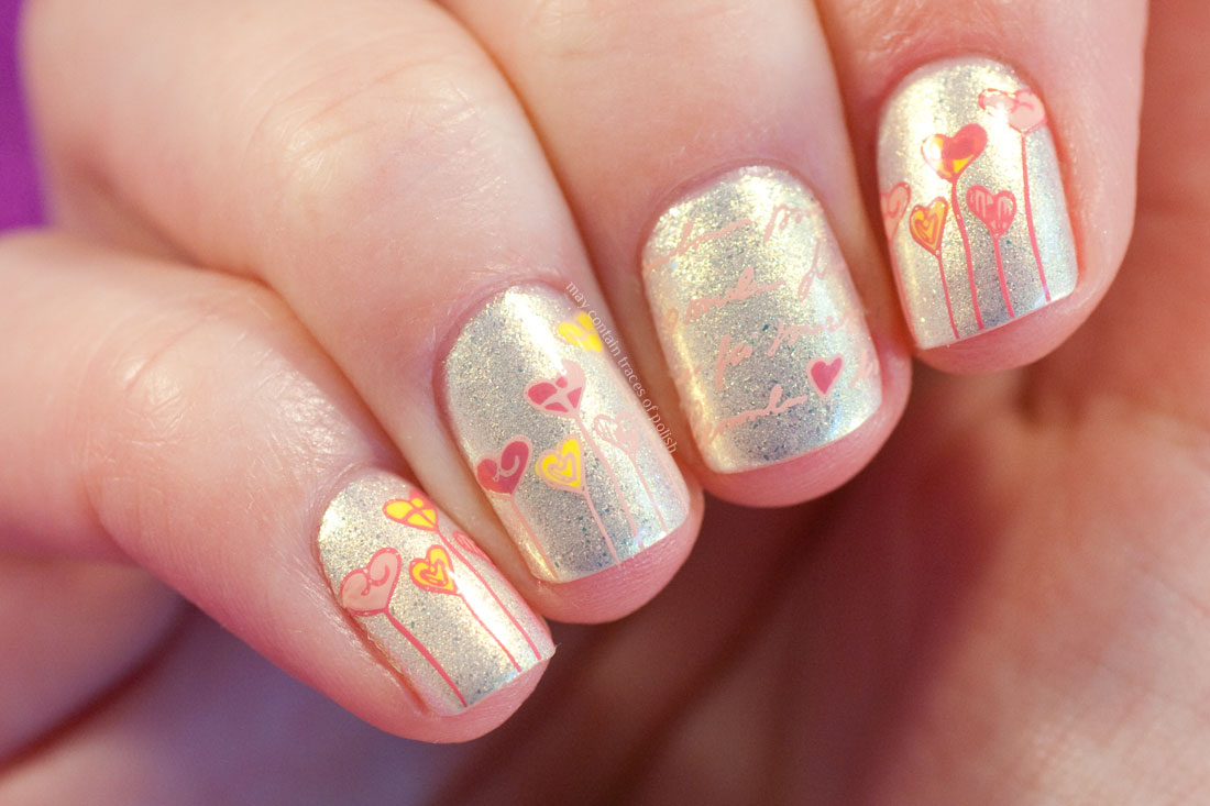 Cute Hearts Nail Art using MoYou London Princess plate 08.