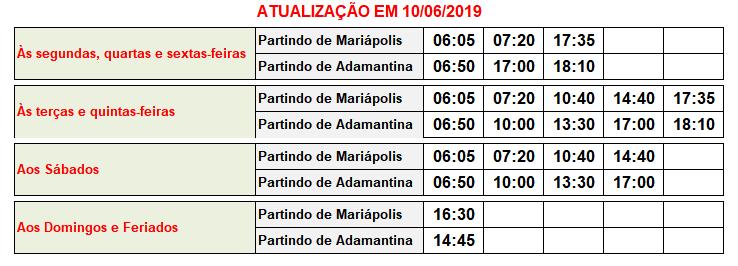 Jandaia Horarios Mariápolis à Adamantina