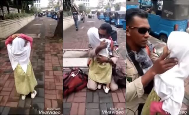 Mengharukan, Pertemuan Gadis Kecil dengan Ayahnya, Laskar FPI Yang 2 Bulan Jadi Relawan di Lombok