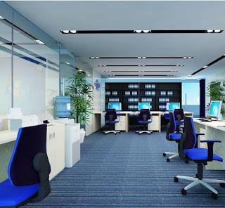 màu xanh dương chủ đạo trong thiết kế văn phòng