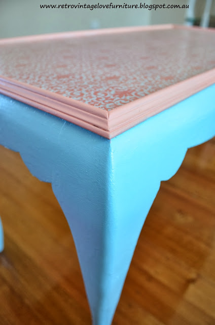 Aqua and Coral Queen Anne Coffee Table with Decoupage