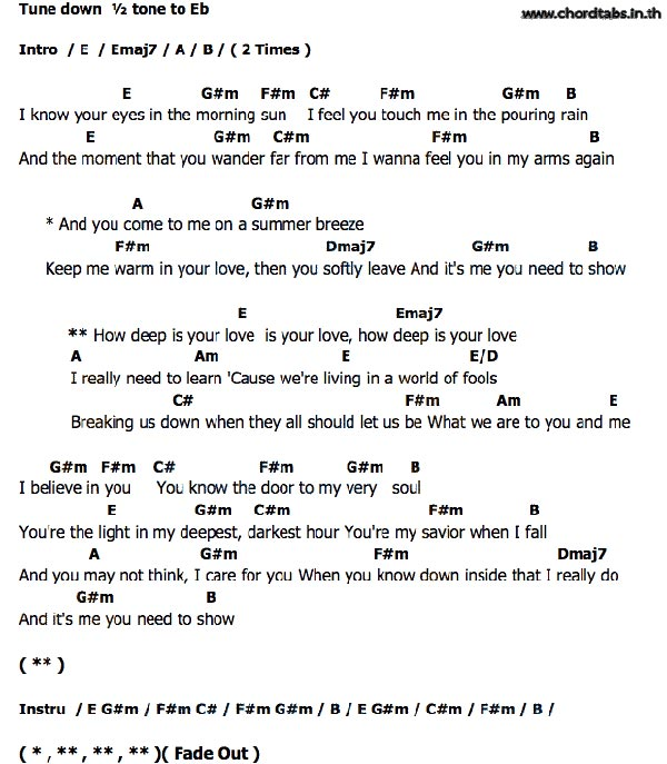 Best How Deep Is Your Love Lyrics And Chords Image Collection