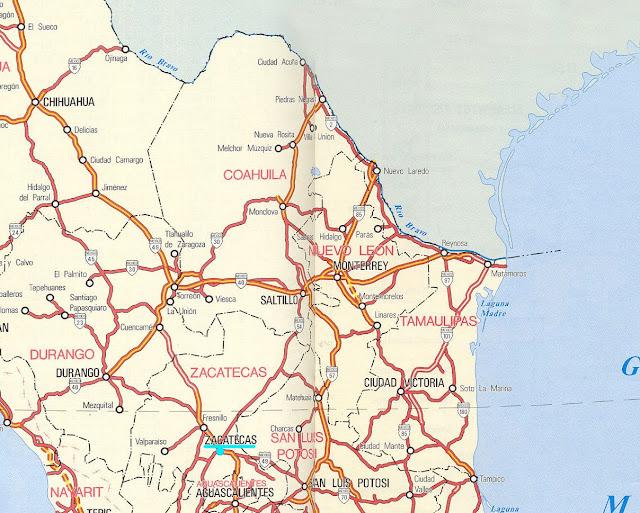 Mapa rodoviário da região de Monterrey – México