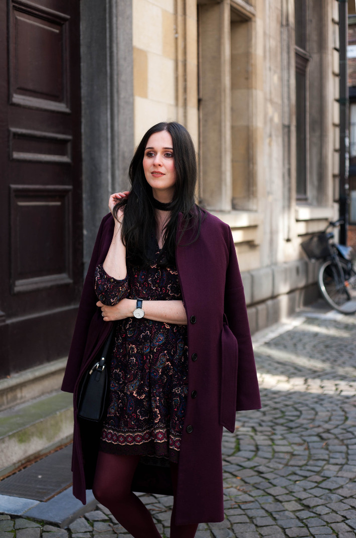 Outfit: paisley dress, eggplant all over