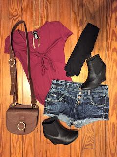 burgundy bodysuit ootd
