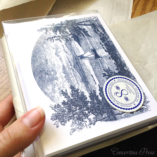 nautical sailing ship notecards in navy and white by Concertina Press