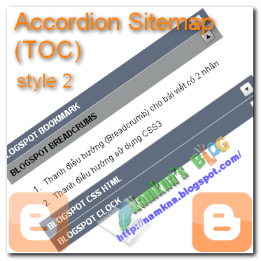 Tạo Accordion Sitemap (TOC) cho Blogspot style 2