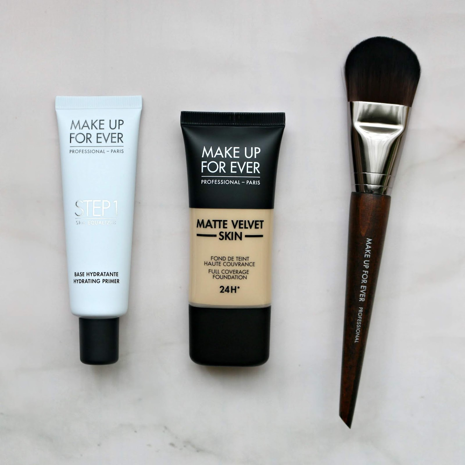 Make Up For Ever Matte Velvet Skin Foundation Y235 Step 1 Skin Equalizer Hydrating Primer 108 Large Foundation Brush Review