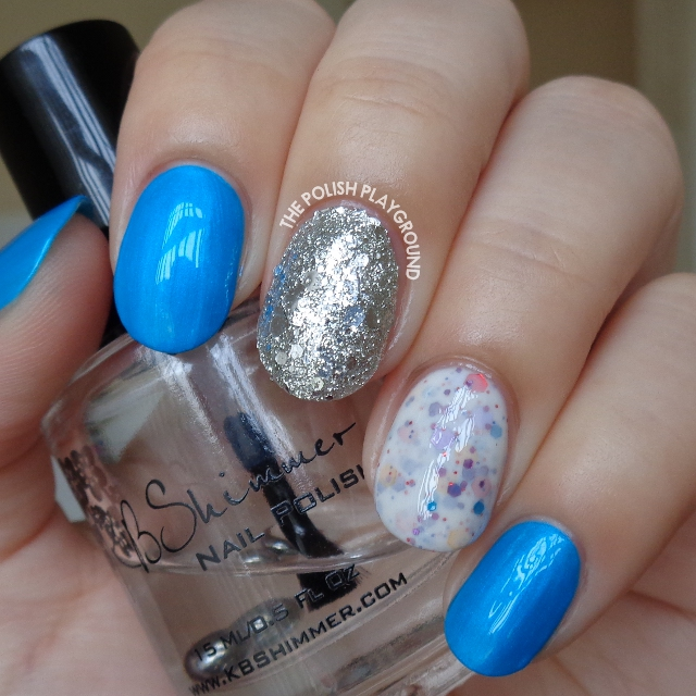 Blue Neon, White Crelly & Silver Glitter Nail Art