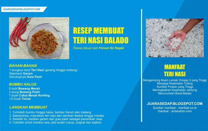 Resep Teri Nasi Balado dan Manfaat Ikan Teri Nasi