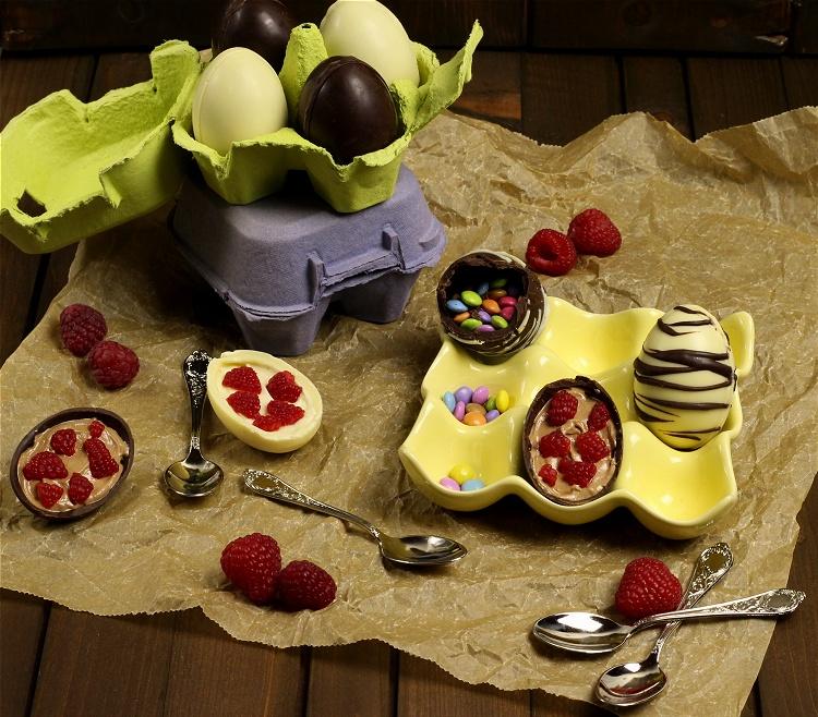 Selbstgemachte (gefüllte) Schokoladeneier - Löffeleier