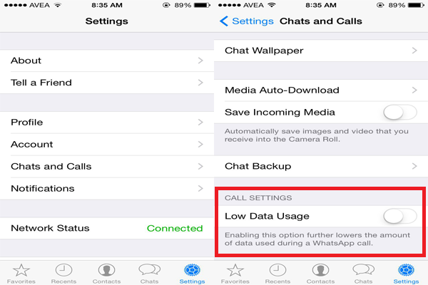 How to reduce Internet consumption in WhatsApp calls on iPhone