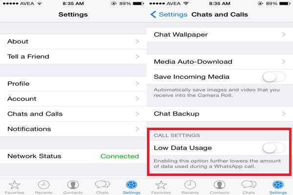 كيفية تقليل استهلاك الإنترنت في مكالمات WhatsApp على iPhone