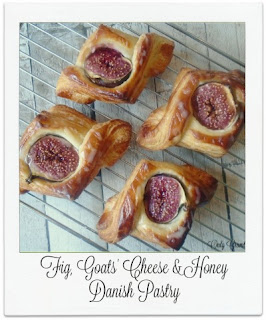 These homemade Danish Pastries were shaped into a 'diamond' and topped with the wonderful flavour combination of fig, goats' cheese and honey.  Post contains a 'how to video'.