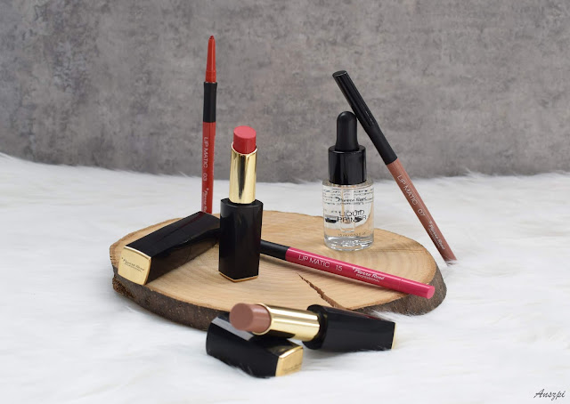 Trio od Pierre Rene: pomadki Cashmere Lipstick, konturówki do ust Lip Matic, utrwalacz do makijażu Liquid Primer