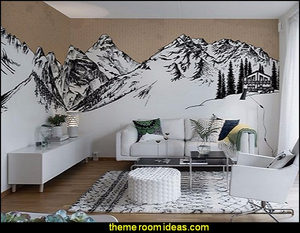 snowy slopes bedrooms   Ski cabin decorating - ski lodge decor - winter cabin decorating ski resort bedroom ideas - winter wall murals - ski chalet theme bedroom decorating ideas - modern rustic style winter cabin decor - Swiss alps decoration Alpine theme decorating - adventure bedroom design ideas - ski alps wall decal stickers - Swiss chalet mountain ski lodge murals weather themed bedroom decorating