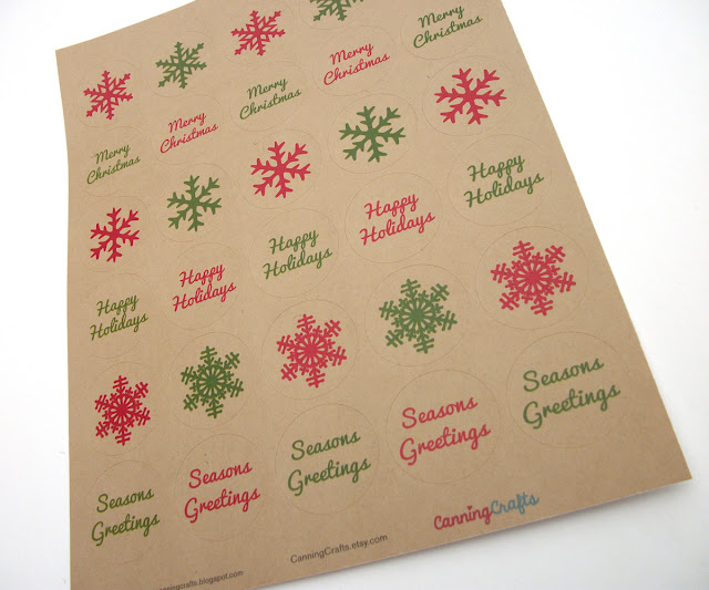Merry Christmas Happy Holidays snowflake envelope seals