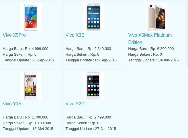 Daftar Harga Hp Terbaru Vivo Juli 2016