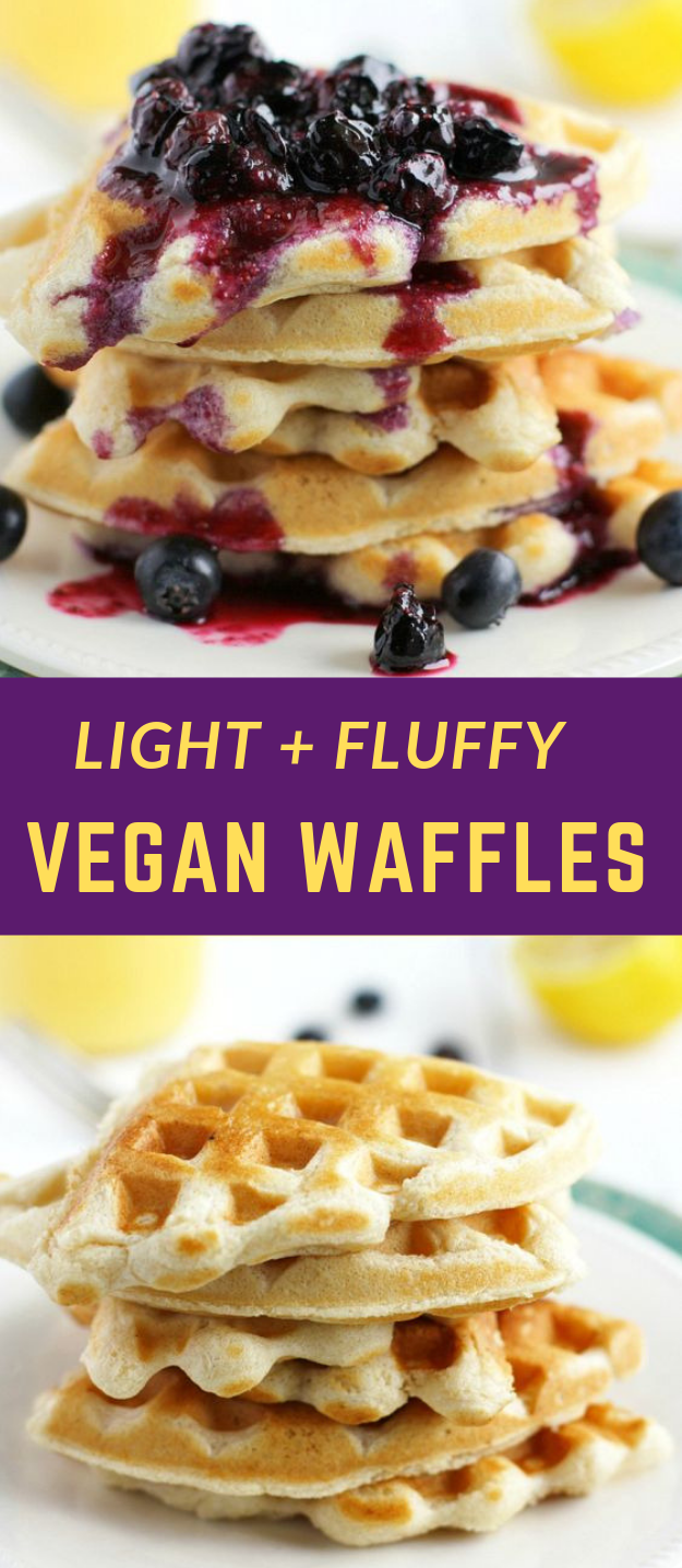Light and Fluffy Vegan Waffles with Blueberry Sauce #vegan #bluberry