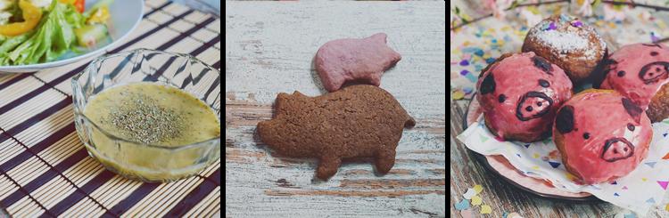 KuneCoco • Rezepte • Honig-Himbeer-Senf-Dressing • Himbeer-Schoko-Kekse • Kreppel/Krapfen mit Schweinegesicht