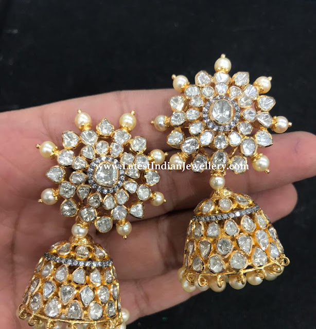 Royal Flat Diamond Jhumkas