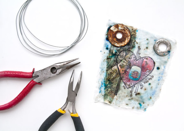 Getting ready to hang the Found Heart project by Kim Dellow