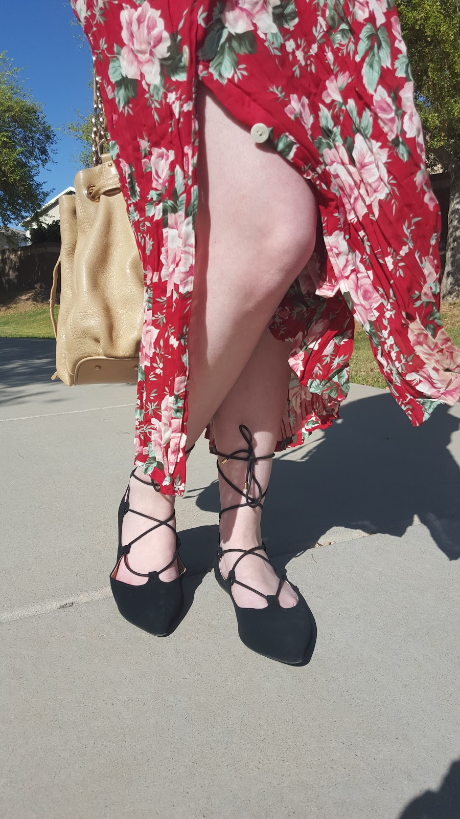 vintage floral maxi dress with lace up flats- Spring outfit