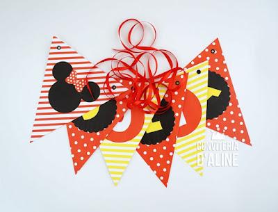 festa minnie mickey bandeirola personalizada