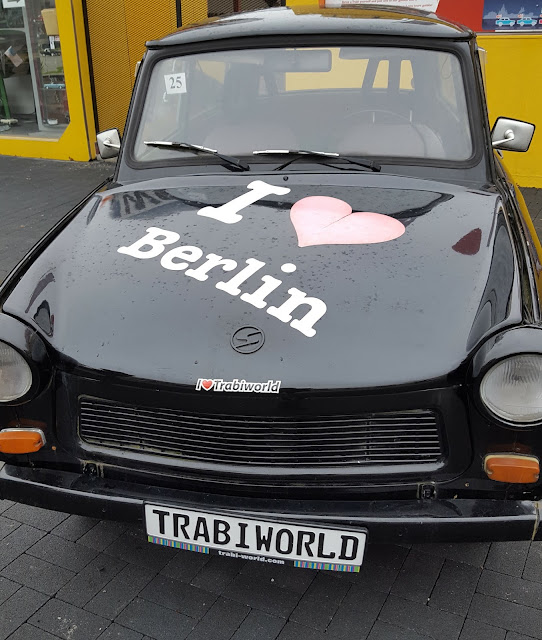 Black Trabi car with statement I love Berlin