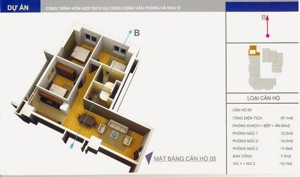 thiết kế mẫu căn số 5 chung cư 34 Cầu Diễn