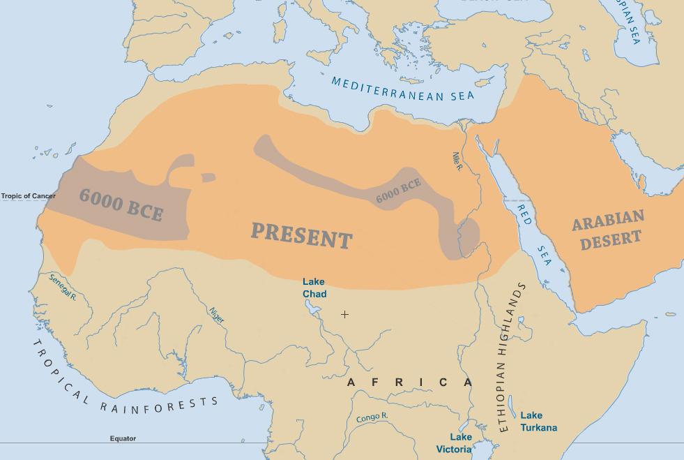 Sahara: 6000 BCE vs the present