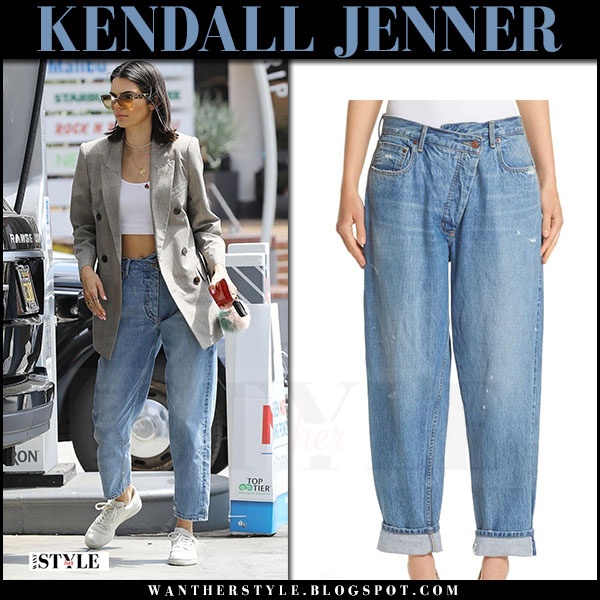 Kendall Jenner in washed 90s style monse jeans and oversized blazer july 15 2017 celebrity style what she wore