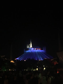 Space Mountain exterior at night tomorrowland