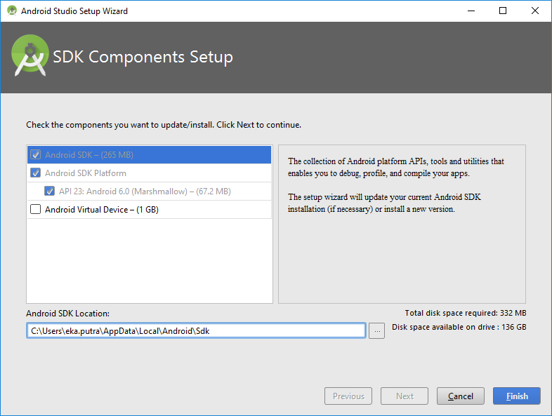 9.B1. android studio installation select SDK download