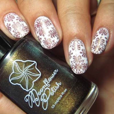 Moonflower Polish Hidden Rose nail polish stamped over white